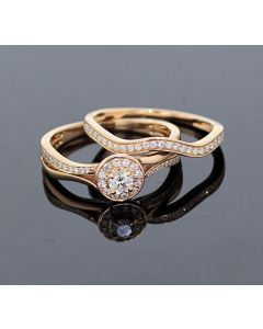 Rose Gold Bridal Set Womens Engagement ring and Band Set 1/2ctw Diamonds and 14K Rose Gold