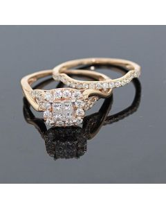 Rose Gold Bridal Set Womens Engagement ring and Band Set 1ctw Diamonds and 14K Rose Gold