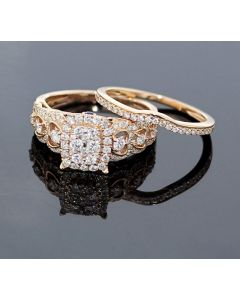 Rose Gold Bridal Set Womens Engagement ring and Band Set 0.90ctw Diamonds and 14K Rose Gold