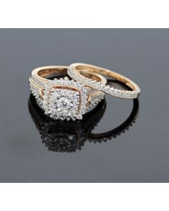 Rose Gold Bridal Set Womens Engagement ring and Band Set 1.25ctw Diamonds and 10K Rose Gold