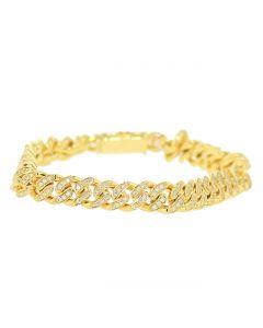 Diamond Miami Link Bacelet 10K Gold Mens Cuban Bracelet 10mm Wide 8.5 Inch Long 2.90ctw