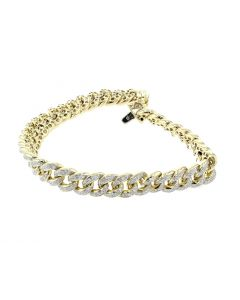 10K Gold Miami Link Diamond Bracelet for Men 2.2ctw Cuban Link 9mm 8 Inch
