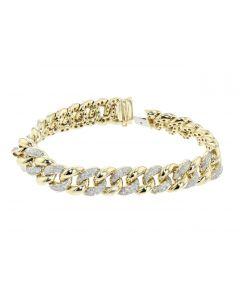 Diamond Bracelet Miami Cuban Link 2.00ctw Round Pave Diamonds 13mm Wide 8 Inch