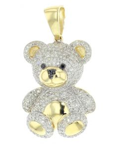10K Gold Bear Teddy Bear Pendant Love Gift Genuine Diamonds 1.00ctw Womens Fashion Charm