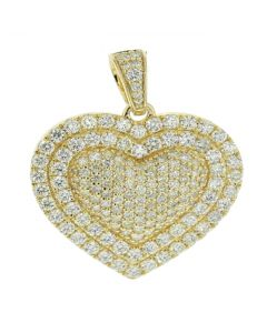 14K Gold Heart Pendant 3.65ctw Round SI Quality Clear Diamonds Large 36mm Womens Pendant
