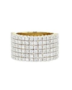 10K Gold Mens Rings 3.19ctw Diamonds 6 Row Round Cut 14mm Wide Wedding Band
