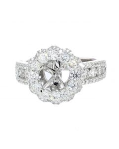 14K White Gold Semi Mount Ring Setting Fits 1 to 2CT Round Solitaire Halo Style