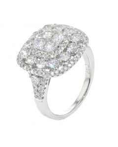 14K White Gold Diamond Cocktail Ring Womens Statement Ring Cushion Shaped 2.18ctw Diamond 16.5mm Wide