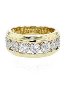 10K Gold Wedding Band Diamond Ring Mens 0.70ctw 10mm Wide Comfort Fit Round Cluster Diamonds