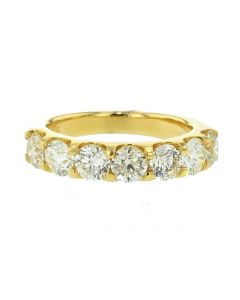 14K Gold 3.58ctw Diamond Mens Wedding Band Large 7 Round Solitaire approx 1/2ct Each Diamond