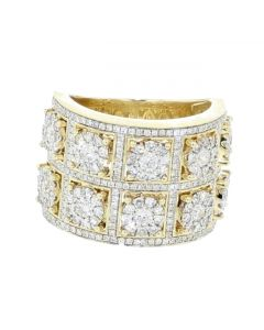 10K Gold Mens Extra Wide Diamond Ring 18mm 2.40ctw Round Diamond Wedding Band or Pinky Fashion Ring