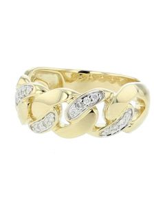 10K Gold Mens Ring Link Chain Style Cuban Miami With Diamonds 0.23ctw 8mm Wide Solid