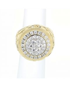 10K Gold Extra Large Nugget Ring Mens Diamond Nugget Ring Round Cluster 25mm Big 2.20ctw