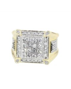 10K Gold Mens Diamond Ring 2.00ctw Cluster Pinky Fashion 17mm Wide