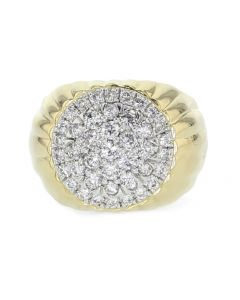 10K Gold Diamond Ring Mens Solar Burst Style Large Round Cluster 17mm Wide 1.50ctw Domed