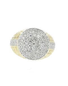 10K Gold Mens Nugget Ring With Diamond Round cut 1.55ctw Mens Fashion Pinky Ring 17mm
