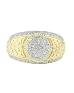 10K Gold Mens Diamond Fashion Statement Ring Nugget Style Round Domed 0.31ctw Diamonds 13mm