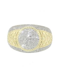 10K Gold Mens Diamond Fashion Statement Ring Nugget Style Round Domed 0.52ctw Diamonds 19mm