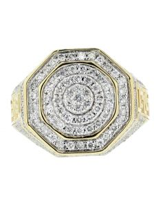 10K Gold Mens Diamond Ring 19mm 1.50ctw Round Diamonds Cluster Pinky Fashion Ring