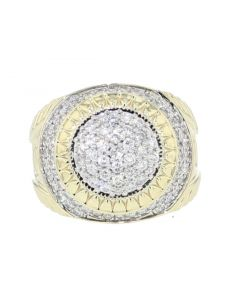10K Gold Mens Extra Wide Domed Ring Fashion Statement Ring 2.00ctw Diamond 20mm Round