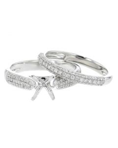 Platinum Semi Mount Wedding Ring Set 0.48ctw Fits 1ctw Diamond Cathedral Style Ring Setting