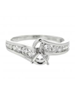 14K White Gold Semi Mount Engagement Ring 0.50ct Diamonds Fits Upto 1ct Solitaire