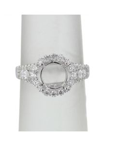 14K White Gold Semi Mount Engagement Ring Fits 1.5ct Solitaire Halo Style Marquise Side Diamonds