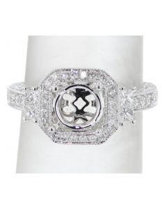 14K White gold Semi Mount Ring Setting Fits 1 to 2CT Milgrain Edges 1.24ct Diamonds