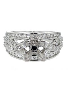 14K White Gold Semi Mount Wedding Ring Extra Wide Fits 1 to 2 CT Solitaire Infinity Style 3 in 1 Style