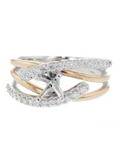 Diamond Ring Setting 14K White and Rose Gold Two Tone Modern Design Fits 1CT Solitaire 0.37ct MultiRow
