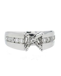 14K White Gold Semi Mount Ring Setting Fits 1 to 2CT Solitaire 12mm Wide Rond Channel Set Side Diamonds 0.58ct