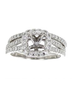 14K White Gold Semi Mount Bridal Wedding Rings Set 2pc Ring Setting 0.75ct Square Halo Fits 1CT