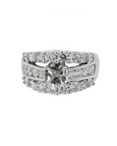 14K White Gold Semi Mount Ring 2.16ct Large Round Side Diamonds Fits 1ct Solitaire