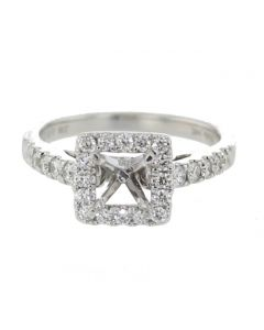 14K White Gold Engagement Ring Setting Semi Mount Only Fits 1ct Princess or Round Solitaire 0.52ct
