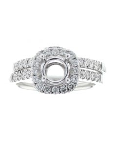 14K White Gold Semi Mount Ring Settting Bridal Set Halo Style Fits 1ct Or larger Solitaire 0.72ct Side Diamonds