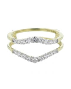 14K Gold Ring Jacket Enhancer 0.5ct Diamonds Chevron Style Engagement Ring Guard