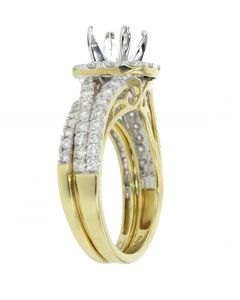 14K Gold Wedding Set Semi Mount Ring Setting Only Fits 1 to 2ct Solitaire Halo Style Split Sides 1.25CTW