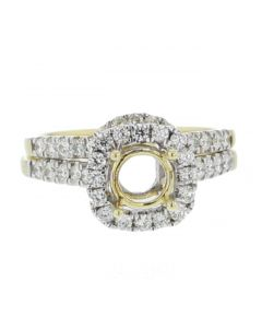 14K Gold Semi Mount Wedding Ring Set Halo Style Fits 1ct Round Solitaire 0.72ct Side Diamonds
