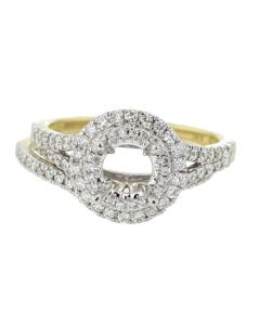 14K Gold Semi Mount Wedding Ring Set Engagement Ring Setting Fits 1ct Solitaire 0.71ct