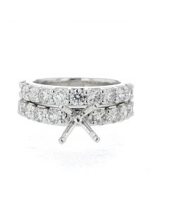 14K White Gold Wedding Set Setting 2.00ctw Side Diamonds Large Round Cut Side diamonds Fits 1CT - 2CT