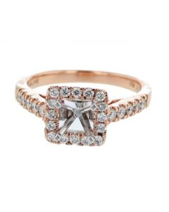 14K Rose Gold Semi Mount Engagement Ring 0.5ct Diamonds Square Halo Art Deco Style Fits 1ct