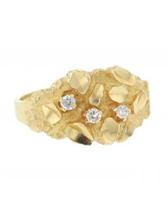 14K Gold Nugget Ring Mens Pinky Fashion Ring Diamond Ring for Men 0.06ctw