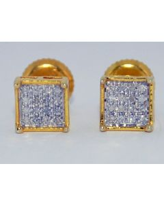 DIAMOND STUD EARRINGS SCREW BACK 0.10CT PRINCESS CUT MICRO PAVE 6MM GOLD FINISH