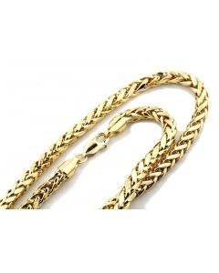 Mens Ladies 10K Yellow Gold 3.5MM Palm Wheat Chain Necklace 22, 24,26,28,30 Inch