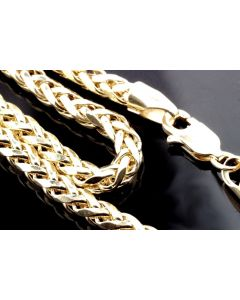 Mens Ladies 10K Yellow Gold 4MM Palm Wheat Chain Necklace 22 , 24,26,28,30 Inch