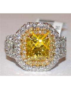 Yellow and White Diamond Wedding Ring Custom Made