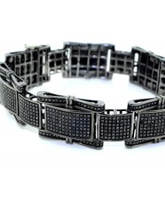 Diamond Bracelet Mens Black Diamonds 3.7ctw Black Pvd Finish 8.5 inches Long 18mm Wide