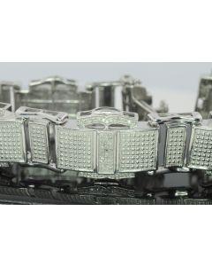 0.5ct Diamond Bracelet for Men White Gold Finish Sterling Silver 8 inch Long 18mm Wide