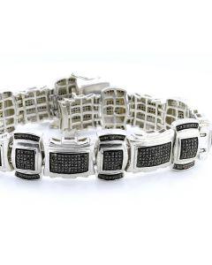 2.6ctw Diamond Mens Bracelet Black Diamonds 8.5 Inches Long 19mm Wide Diamond Bracelet