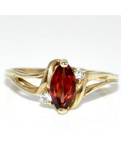 10K Gold Garnet Ring 8mm with accent diamonds size 7 birthstone ring